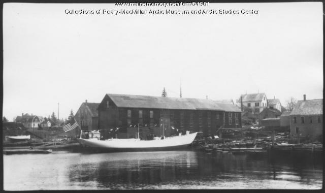 Schooner 'Bowdoin' launch, East Boothbay, 1921