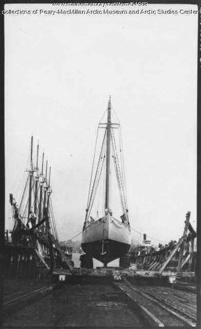 Schooner 'Bowdoin' in drydock, South Portland, 1921