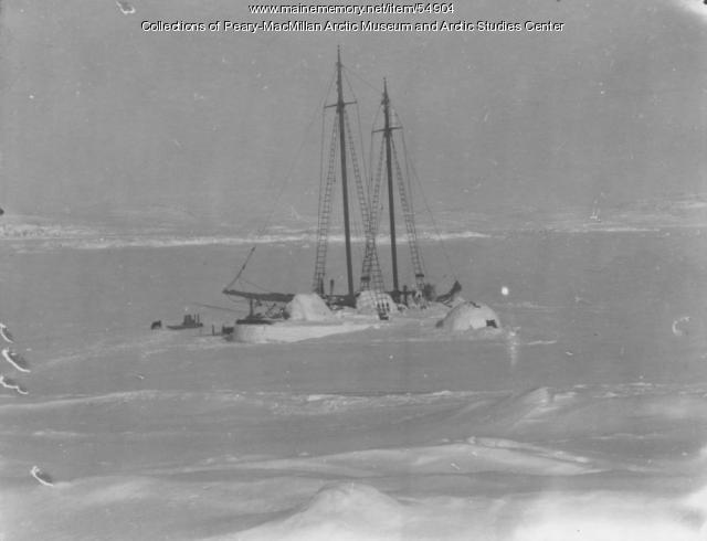 Schooner 'Bowdoin' in winter quarters, Baffin Island, 1922