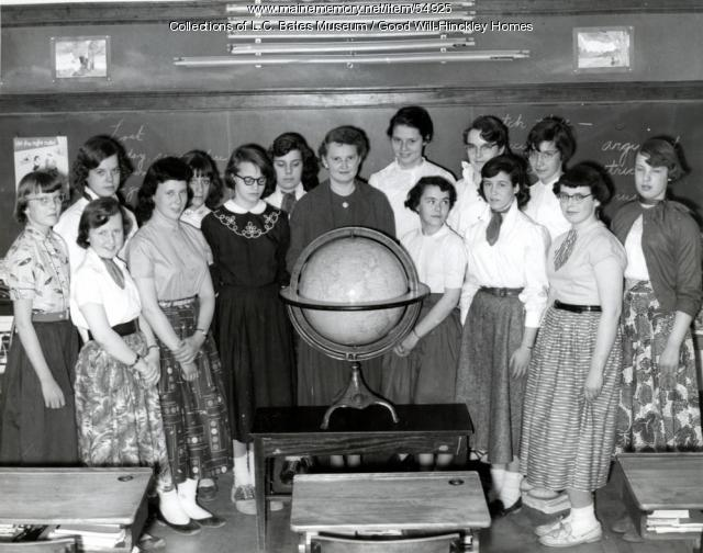 Mrs. Graffte and the Gould School girls, Fairfield, ca. 1960