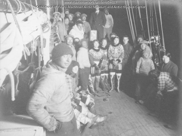 Inuit aboard schooner 'Bowdoin,' West Greenland, ca. 1940