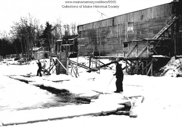 Ice harvesting, Kennebec River, ca. 1900
