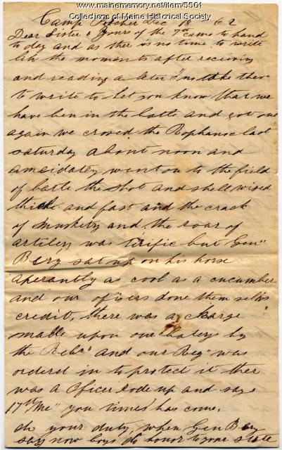 Meshach P. Larry letter, Dec. 18, 1862
