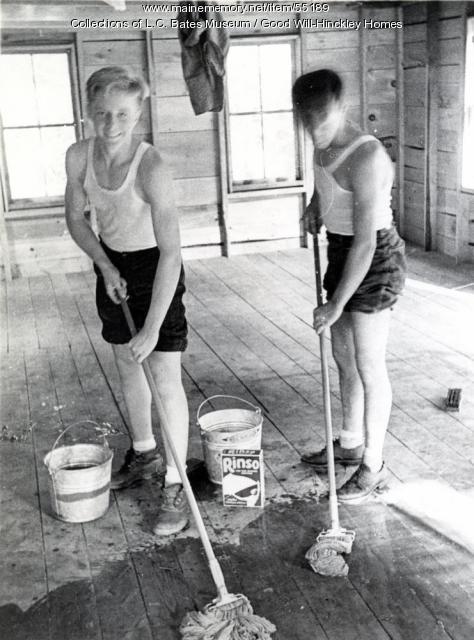 Good Will boys mopping, Fairfield, ca. 1955