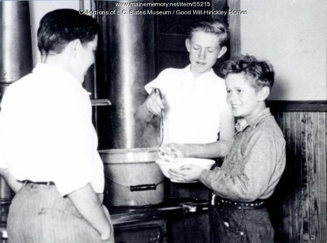 Good Will boys cooking, Fairfield, ca. 1950
