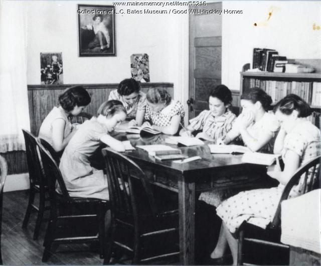Girls studying. Fairfield, ca. 1950