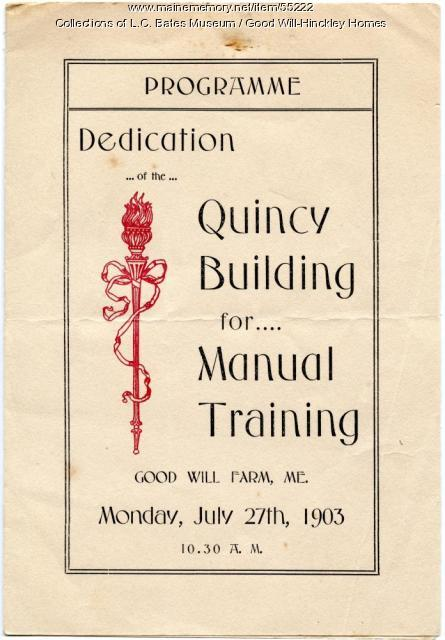 Quincy Building Dedication Program cover, Fairfield, 1903