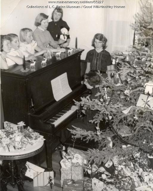 Good Will girls on Christmas morning, Fairfield, ca. 1950