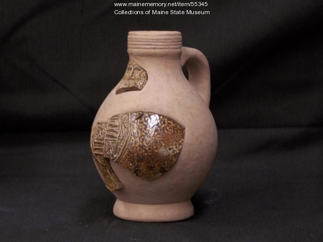 Recreated bellarmine jug, Popham Colony, ca. 1600