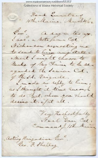 Neal Dow to George F. Shepley, 1862