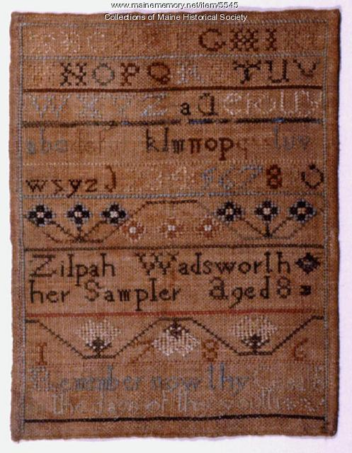 Zilpah Wadsworth sampler, Portland, 1786