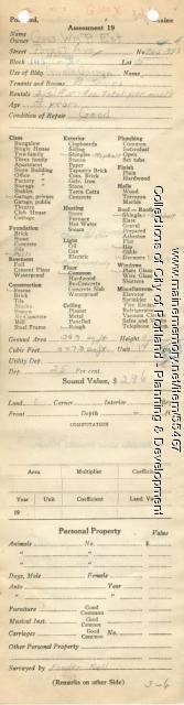 Assessor's Record, 945-953 Forest Avenue, Portland, 1924