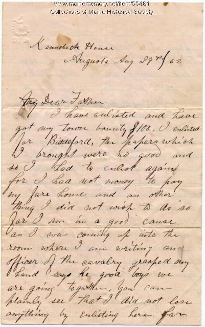 John P. Sheahan letter on enlistment, Augusta, 1862