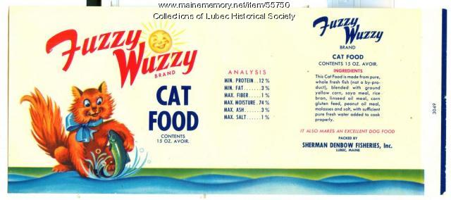 Fuzzy Wuzzy Cat Food Vintage Can Label Sherman Denbow Fisheries Lubec Maine