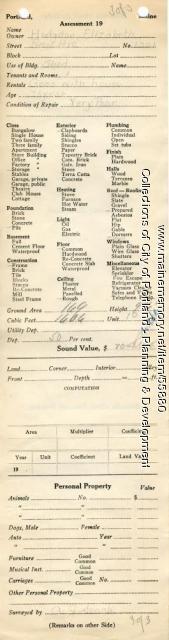 Assessor's Record, 1321 Forest Avenue, Portland, 1924