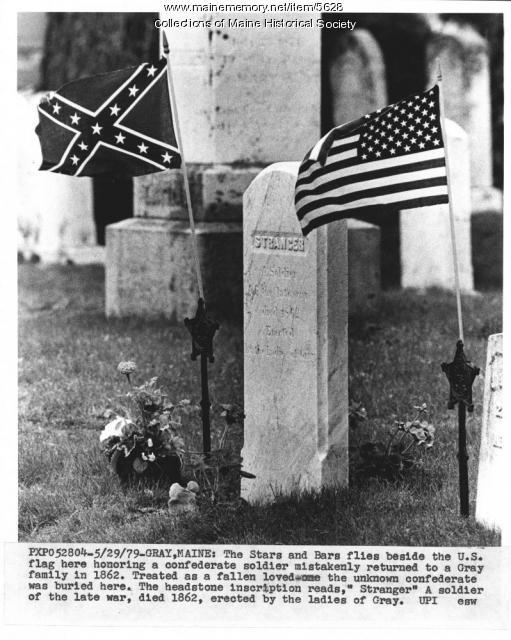 Headstone, unknown Confederate soldier, Gray