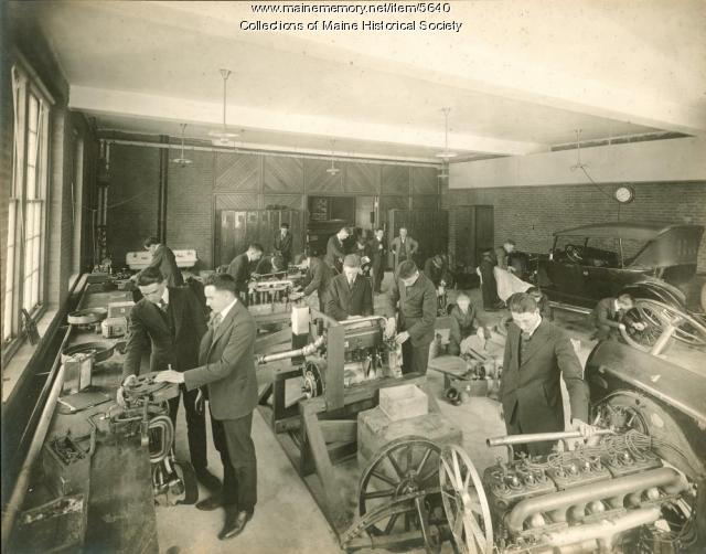Auto repair class, Portland High School, ca. 1920