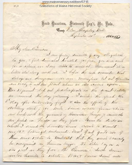 Abner Small to Luther Emerson, Sept. 21, 1862