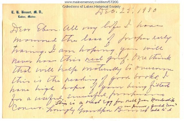 Eben H. Bennet to grandson letter, Lubec, 1930