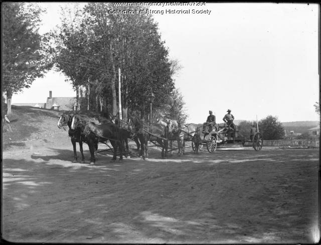 Road crew on horse-drawn road grader, Strong, ca. 1905