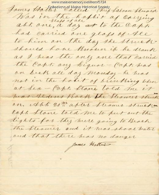 Deposition of James Hatter, 'Bohemian's' chief steward