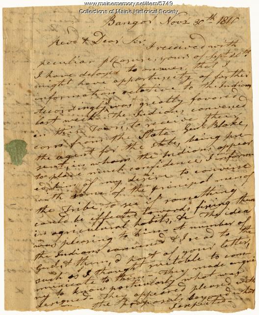 John Sawyer letter to Rev. William Jenks, 1810