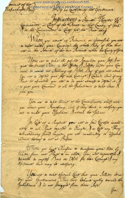 Troop instructions, 1721
