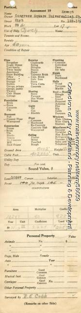 Assessor's Record, 128-134 High Street, Portland, 1924