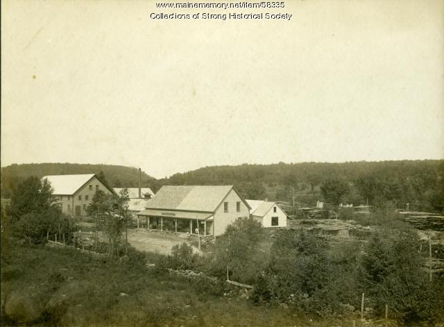 C.V. Starbird box shop, sawmill and store, Strong, ca. 1903