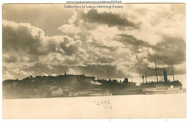 Lubec waterfront with large steamship 1910