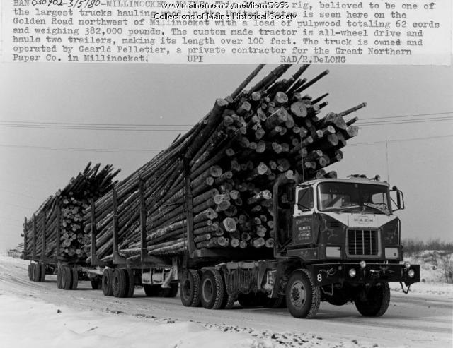 Hauling wood in Millinocket, 1980
