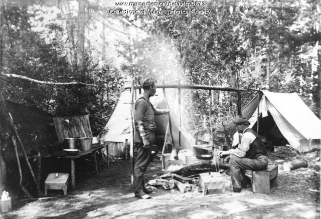 Chefs in the kitchen, Sandy Point Camp, 1896