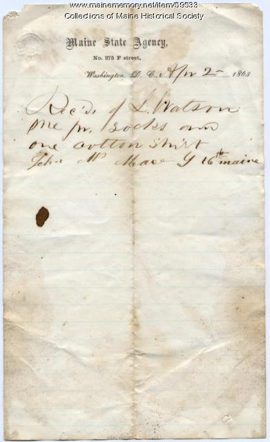 Receipt for socks, shirt, Washington, 1863