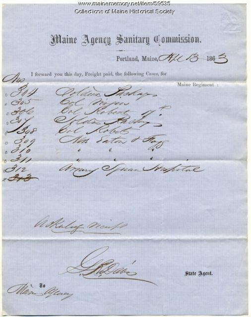 Notice of freight shipped to Washington, 1863