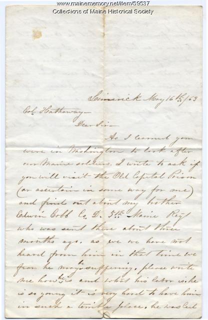 Letter seeking information on POW, Limerick, 1863