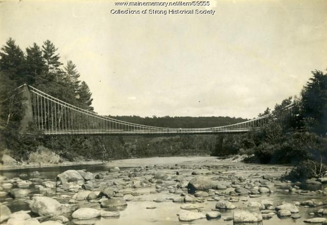 Wire suspension bridge, viewed in an easterly direction, Strong, ca. 1910