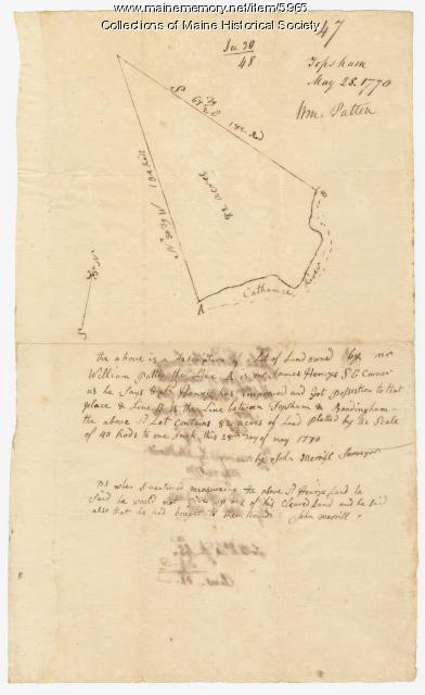 William Patten's land, Topsham, 1770
