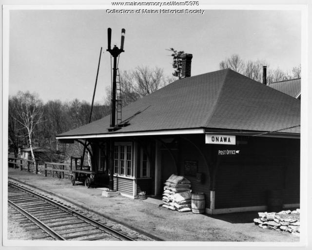 Railroad station at Onawa, ca. 1920