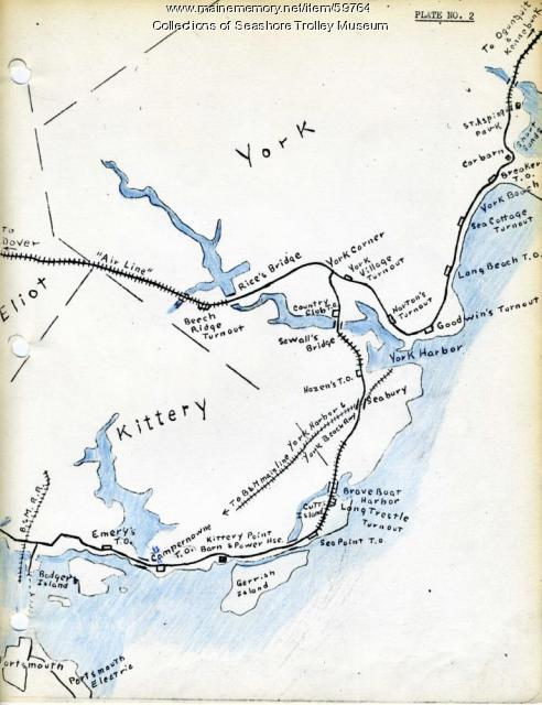 Kittery To York Beach Electric Railroad Lines Ca 1923 Maine