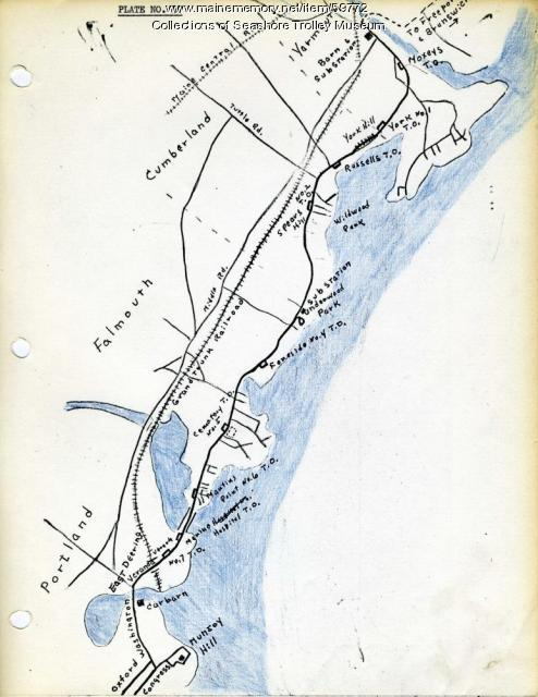 Electric railroad route map, ca. 1933