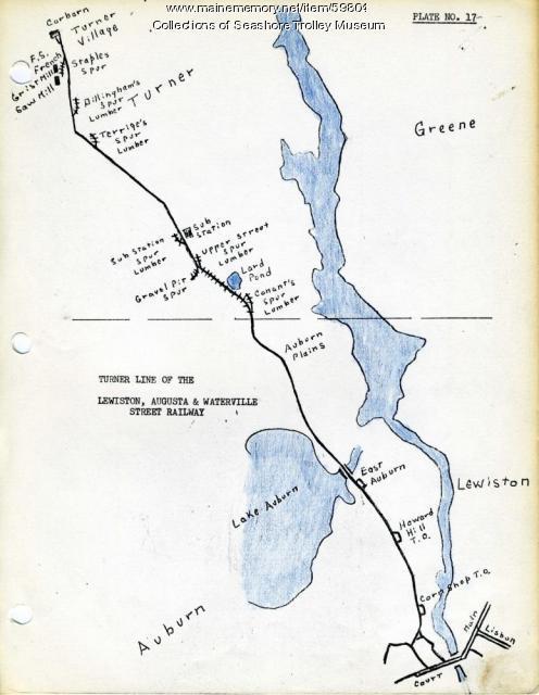Lewiston Auburn And Turner Electric Railroads Ca 1928 Maine