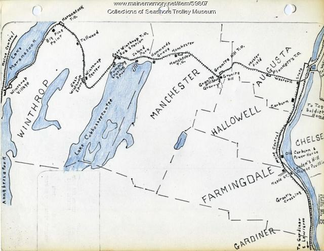 Gardiner to Augusta to Winthrop electric railroads, ca. 1932