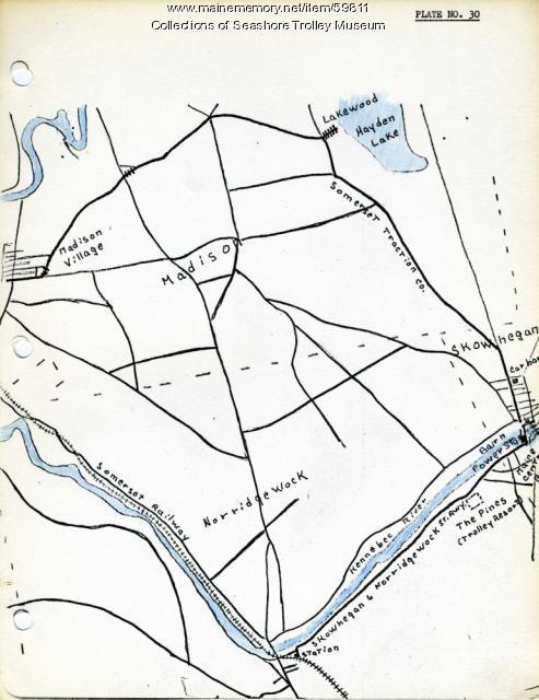 Skowhegan, Norridgewock, & Madison electric railway lines, ca. 1928