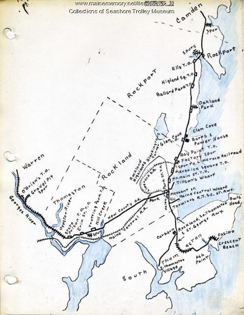 Rockland, Thomaston & Camden electric railroad lines, ca. 1931