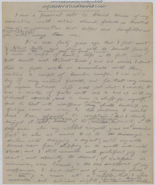 My Debt to Maine, Theodore Roosevelt, 1918