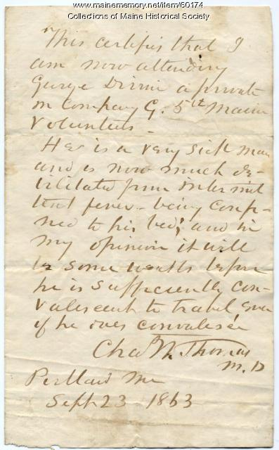 Doctor's letter certifying ill soldier, Portland, 1863
