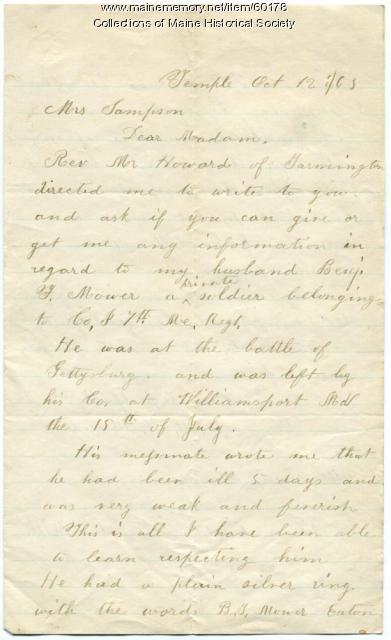 Letter seeking information on husband, Temple, 1863