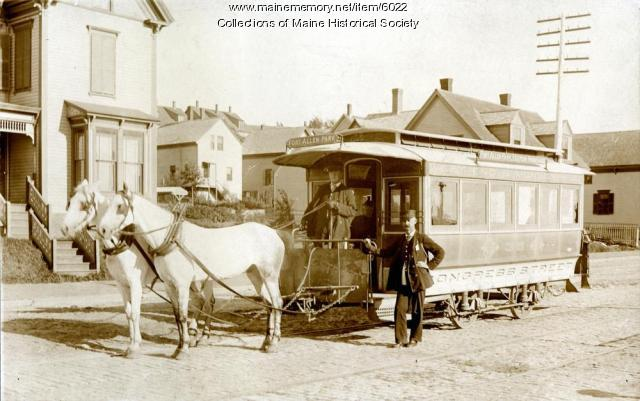 Horse-drawn trolley, Portland, ca. 1890