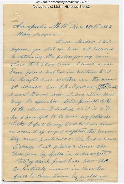 Plea for furlough for ill soldier, 1863