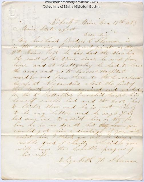 Letter about ill soldier, Liberty, 1863